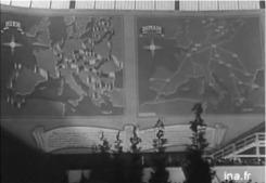Capture d'écran. Reportage de propagande datant du 6 juin 1941, relatant l'inauguration à Paris de la première exposition de la France européenne au Grand Palais.